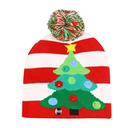 Gorro luminoso de Navidad, linterna de cerebración, gorro de punto de Papá Noel, muñeco de nieve, gorro de reno para boda, fiesta de Navidad, para niños y adultos, árbol de Navidad