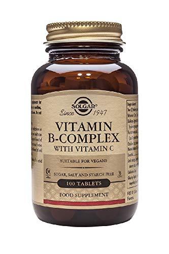 Solgar Vitamina B-Complex con Vitamina C para la producción de energía y apoyo al sistema inmunitario - 100 comprimidos
