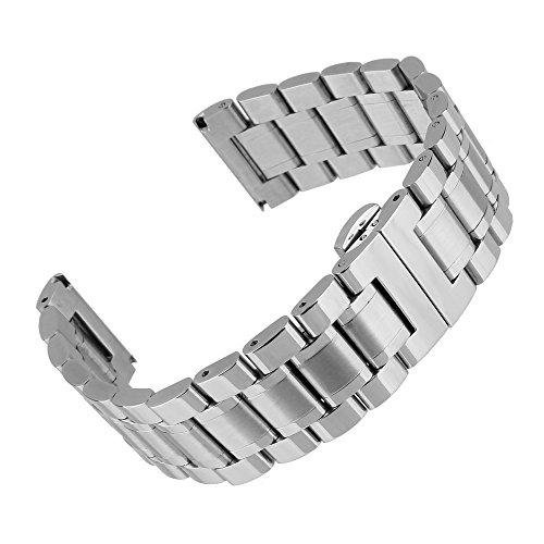 Beauty7 Unisex Edelstahl Uhrenarmband 23mm Silber mit Faltschließe Gerade Anstoß Länge...