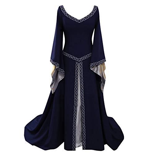 Costume da Regina Medievale Donna Vittoriano Abito da Sera Ricamo Gotico Rinascimentale Eleganti Vestito Marina S