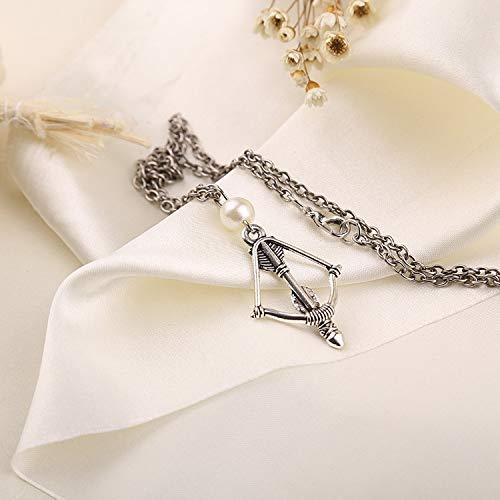 DYKJ Los Juegos del Hambre Flecha Colgante Collar para Hombres Mujeres Joyería Regalo Vintage Cadena de Bronce Perlas Collar de Perlas Joyería
