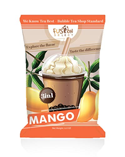 Fusion Select Bubble Tea Mix - Mango Flavored 3-in-1 Drink Powder with Cream & Sugar - Instant Pre-Mixed Beverage for Hot or Cold Blends & Yummy Frappes - 6 oz. Pack, Made in Taiwan (Mango)