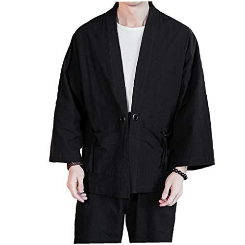 Ohomr Mezcla del algodón de Lino Túnica Abierto Kimono Chaqueta Hombres del Estilo Chino de Tres Cuartos Mangas Negro XXX a Gran