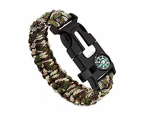 Doyeemei Juego de dos pulseras de supervivencia con silbato, cuerda, mechero, rasqueta para aire libre