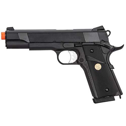 Lancer Tactical M1911 Double Bell Gas Blowback MEU Airsoft Pistol Polymer Black 300 FPS