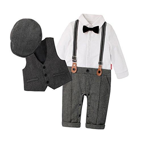 DEMU 3-delig baby jongen kledingset rompers + vest + hoed vlinderdas das pak gentleman doop huwelijk lange mouwen 70 grijs