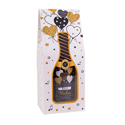 Best Wishes Bade & Duschgel zum Verschenken inkl.Geschenkbox mit Champagnerflaschen-Optik