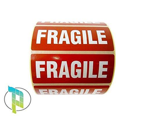 palucart® fragile étiquette autocollants Fragile 1000étiquettes avec inscription Fragile 90x 35Blanc sur rouge manipuler avec soin Handle With Care