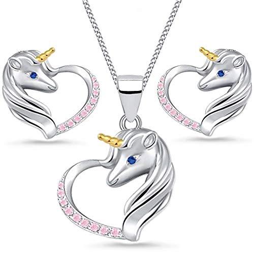 FÜR DICH Einhorn Micro Pavé Zirkonia Herz Pferde Schmuckset 925 echt Silber Mädchen Kinder Ohrringe Anhänger mit Kette (Rosa, 40)