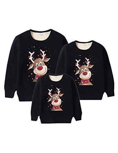 Weihnachtspullover Familie Set, Weihnachten Pullover Damen Herren Rudolph Rentier Elfe Weihnachtspulli Unisex Baby Kinder Mädchen Jungen Elch Christmas Sweatshirt Hirsch Xmas Pulli (Schwarz,4XL)
