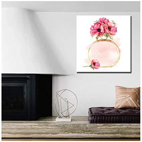 Wangchengp moderne aquarel olieverfschilderij parfum flessen met bloem digitaal gedrukt op canvas kunst muurfoto voor woonkamer huisdecoratie 40X50cm(15.7 * 19.6inch) With Frame