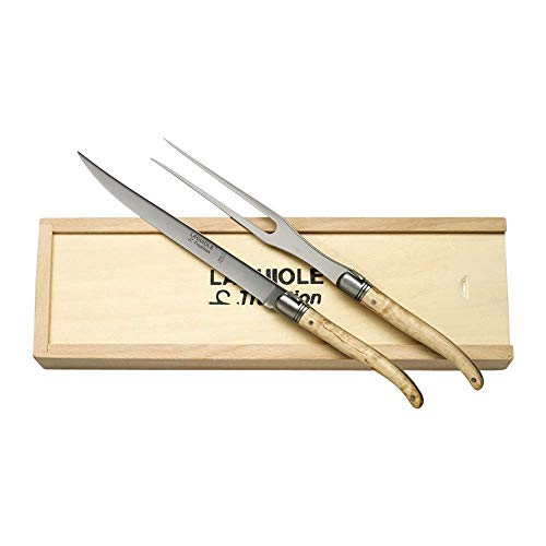 Carving Knife & Fork Set in Pinewood Gift Box by Laguiole France - Handmade in France (Olivewood)
