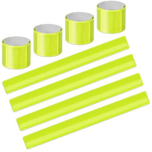EKKONG 8PCS Reflektorbänder, Schnapparmbänder Reflektierend, Klatscharmband Reflektor, Sicherheitsarmband für Radfahren, Wandern, Jogging (Gelb