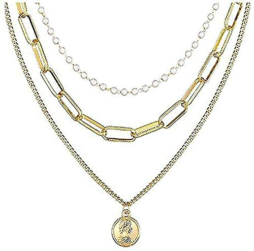 LBBYLFFF Collar Collares Moda Broche Colgantes Collares Multicapa Retrato Mujer Collar Corazón Llave Joyería Joyería de Regalo de Metal Dorado