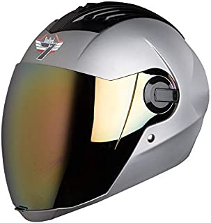 Steelbird SBA-2 7WINGS Full Face Helmet In Matt Finish with Tinted Visor (Large 600 MM, Matt Silver/Gold Visor)
