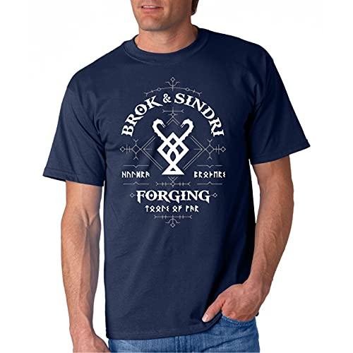Forja Brok y Sindri - Camiseta Manga Corta (Azul Marino, M)