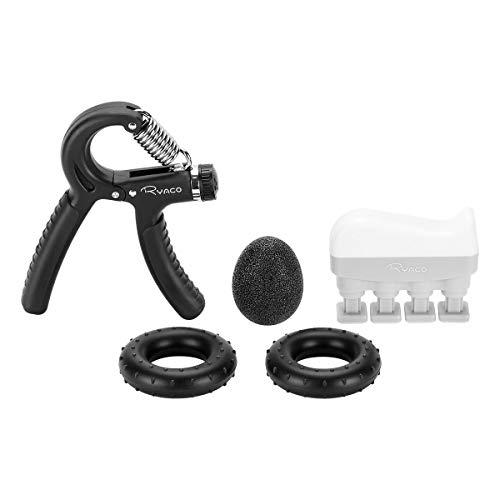 Ryaco Handtrainer Fingertrainer Set, 5 in 1 Hand Trainingsgerät Unterarmtrainer Einstellbar Hand Grip Griffball & Ring, Finger Stretcher, Handmuskeltrainer für Klettern Fitness Therapie (5-60kg)