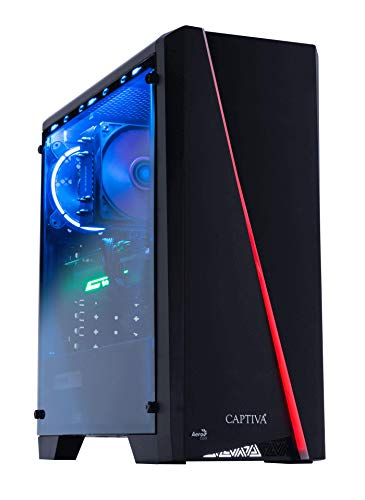 Captiva Advanced Gaming R50-848 Gaming PC | AMD Ryzen 5 2600 | Nvidia GTX 1650 4 GB | 16 GB DDR4 RAM | SSD 480 GB | HDD 1 TB | Ventilador LED | Iluminación RGB | sin sistema operativo | PC juegos