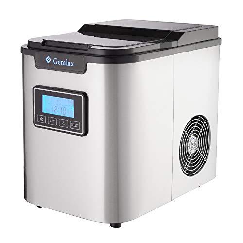 Gemlux Eismaschine | Eiswürfelmaschine für Küchenarbeitsplatte | Macht große, mittlere und kleine Würfel | Tragbar | Für kalten Softdrinks, Kaffee, Tee, Whisky und Bier | Barzubehör IM-88