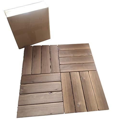 "Arlai Wood Composite Decking, Deck Tiles, Interlocking Flooring Tiles, Patio & Flooring Pavers 30cm x 30cm/12""×12"", Pack of 4"