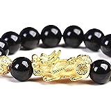 chaosong shop Feng Shui - Pulsera de cuentas de 12 mm natural de obsidiana arco iris para mujeres y hombres Vietnam Sarkin Pi Xiu cuentas de piedras preciosas de cristal elástico pulsera amuleto