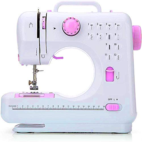 FamYun Portable Sewing Machine, Electric Household Crafting Mending Mini Sewing Machines, 12 Stitches 2 Speed with Foot Pedal - Perfect for Easy Sewing, Beginners, Kids (Pink)