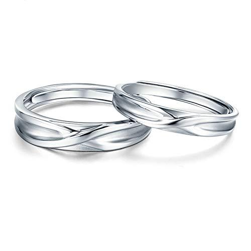 Aeici Eheringe Platin 950 Partnerringe für Sie und Ihn Kreuzform Silber Frauen 53 (16.9) & Herren 61 (19.4)
