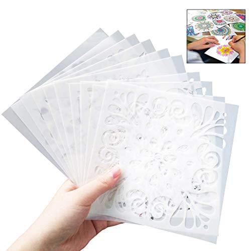 XLKJ 16 Stück Zeichenschablonen Malschablonen Mandala, Malerei Schablone Wiederverwendbar für Scrapbooking Fotoalbum, DIY Geschenkkarten