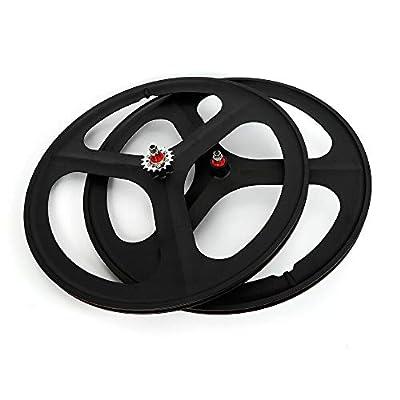 WINUS Bike Mag Wheel Set, 700C Fixed Gear(Front Rear) 17 Teeth Tri Spoke Rim Fixie Single Speed Bike Front & Rear Set White/Black (Wheel Set (Front & Rear) Black)