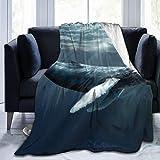 June flower Manta de forro polar de 127 x 152 cm, diseño de ballena, esperma, ballena, agua, peces de mar, hogar, franela suave, cálida, manta de felpa para cama/sofá/oficina/camping