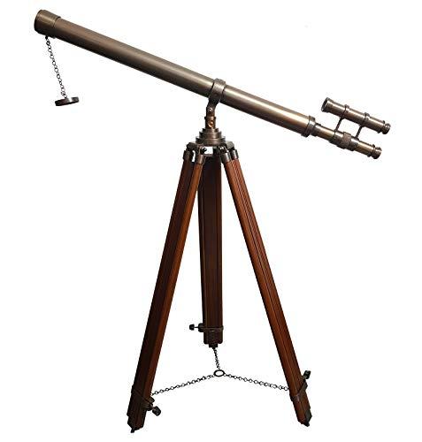 Trípode antiguo de pie náutico telescopios marinos - Telescopio vintage de 157,5 cm, color marrón