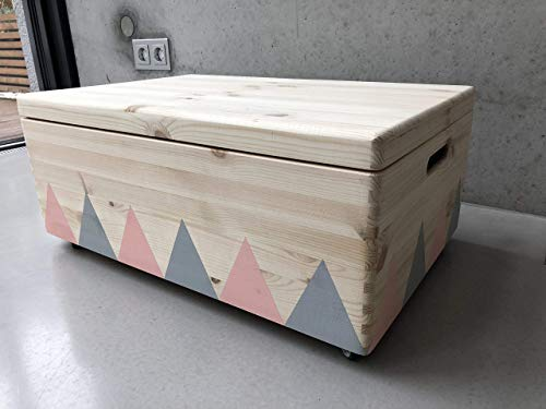 Holz Spielzeugkiste Rosa/Grau - Rollen Triangel skandinavisch mit Deckel - Groß