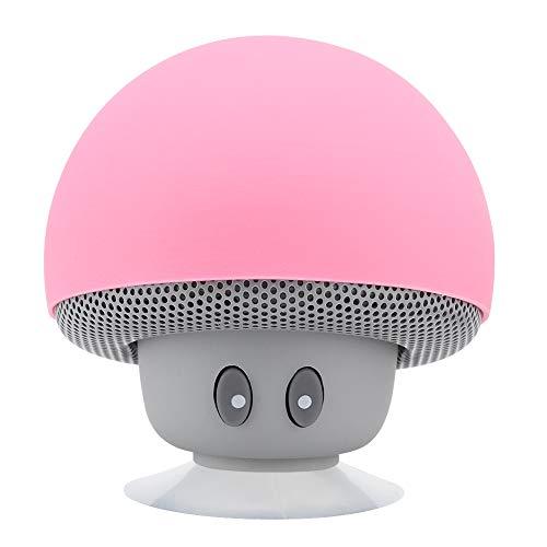 Goshyda Mini Altavoz Bluetooth, portátil inalámbrico Mini Pink Mushroom Bluetooth 3.0 Altavoz de Carga USB Subwoofer con función de Ventosa para el hogar/Regalos para niñas