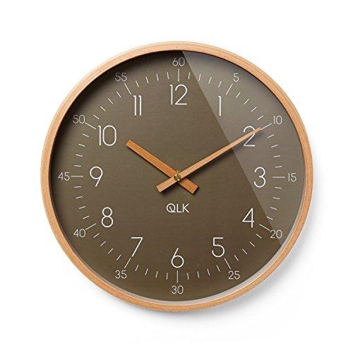 QLK Wanduhr braun Slight Moderne Design Uhr mit Holzrahmen und Zeigern, Ø31 cm (braun)