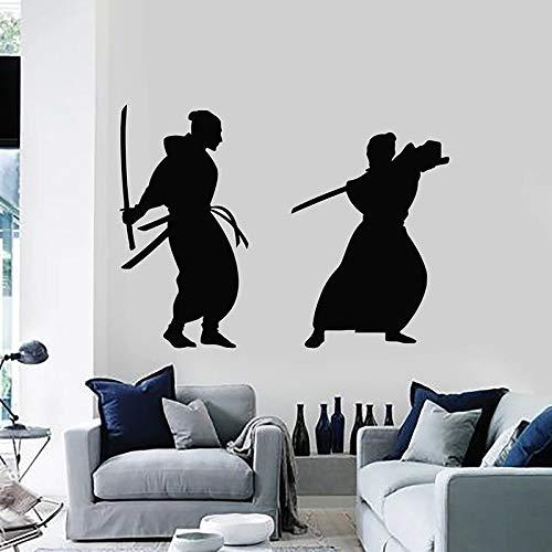 WERWN Calcomanías de Pared de Artes Marciales Hombres asiáticos samuráis luchando Estilo japonés Pegatinas de Vinilo para Ventana Dormitorio Adolescente Sala de Lucha Arte Interior
