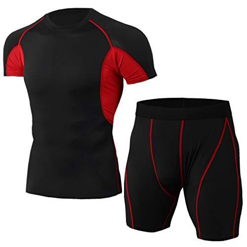 Yowablo Ensemble Vêtements de Compression Homme, Vêtement Fitness Respirant Vêtements de Sport Quick Dry Tenue de Sport Pantalon Hauts Manches Courtes Tee Shirt (XL,2Rouge)