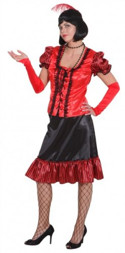 Orlob Faschingskostüm Damen Saloon Lady rot-schwarz Gr. 46