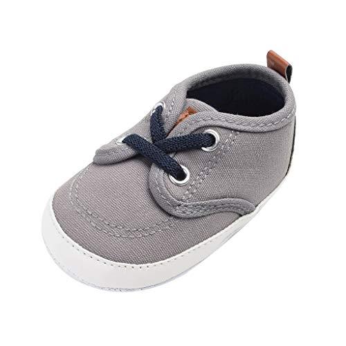 Deloito Krabbelschuhe Leinwand Nähen Schnüren Babyschuhe Kinder Jungen Mädchen Atmungsaktiv rutschfest Sneaker Kleinkind Mode Wanderschuhe (Dunkelgrau,19 EU)
