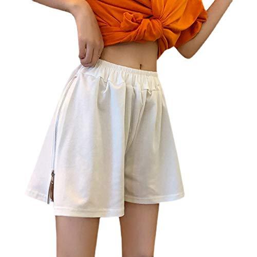 Pantalones Cortos de Pierna Ancha con Cremallera Lateral a la Moda para Mujer Pantalones Cortos elásticos cómodos Sueltos de Cintura Alta Que Adelgazan XX-Large