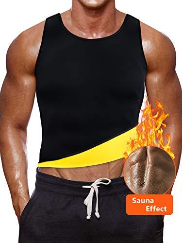 NOVECASA Canotta Sauna Uomo Neoprene/Pantaloncini Sauna Adatta Pantaloni Body Shaper Ginnastica per Sudare, Bruciare i Grassi Fitness Yoga (L, Canotta Giallo)