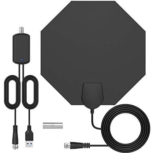 [Última versión ] Antena TV Interior-Bqeel Antena TV octágono portátil HDTV Digital con Amplificador de señal Inteligente para Canales de TV 1080P 4K obtén más Canales Gratis