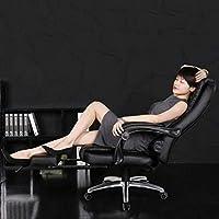 上司の椅子のハイバックオフィスPUの素材、固定肘掛けの人間工学のデザインのオフィスチェア、調節可能なコンピューターの椅子 ひざまずく椅子 (Color : With Footrest, Size : Black)