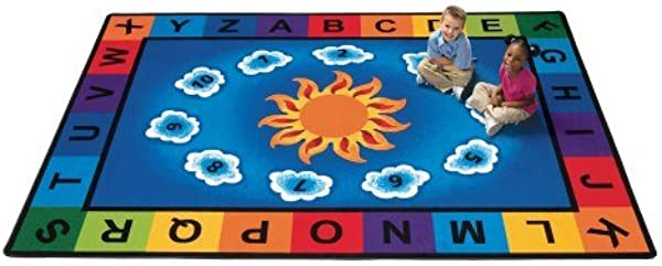 Carpets For Kids 9412 Literacy Sunny Day Learn And Play Kids Rug Size 8 4 X 11 8 Blue