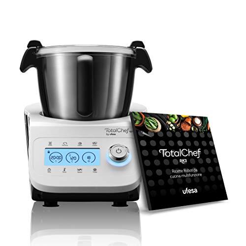Ufesa Totalchef RK3, Küchenmaschine mit Kochen, integrierte Waage, LCD-Display, Dampfprogramm, Leistung 1600 W, LCD-Display, Karaffe 3,5 l, Tragegriff, italienisches Rezeptbuch, BPA-frei