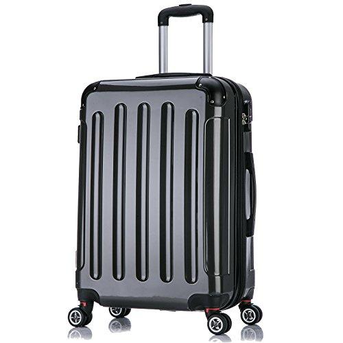 WOLTU RK4212gr-L, Reise Koffer Trolley Hartschale ABS+PC Hochglanz Volumen erweiterbar, Reisekoffer Hartschalenkoffer 4 Rollen, M/L/XL/Set, leicht und günstig,...