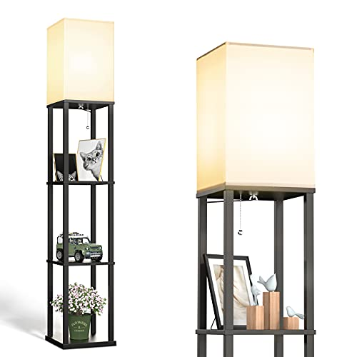 addlon LED Modern Shelf Floor Lamp with White Lamp Shade and LED Bulb - Display Shelves Floor Lamps for Living Room Bedroom and Office - Classic Black