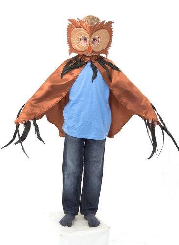 Slimy Toad - Disfraz de búho (niño y niña 3-8 años) hecho a mano - Capa y antifaz para disfraz de búho - Accesorios marrones de búho para Halloween y carnaval
