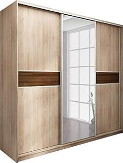 Neuf, Moderne, Garde-robe/Armoire 3 de porte coulissante avec miroir. Largeur: 220cm Hauteur: 216cm Profondeur: 65cm - Chê...