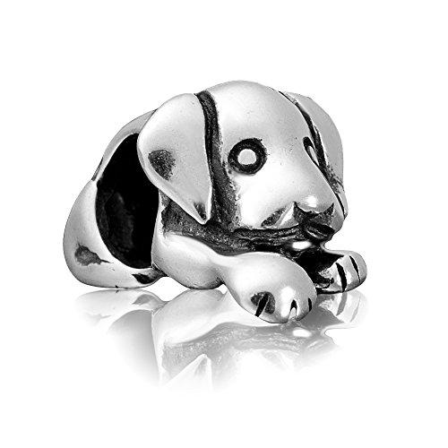 Andante-Stones - Original, Cuenta de Plata de Ley 925 sólida Perro, Vintage, Elemento Bola para Cuentas European Beads + Saco de Organza