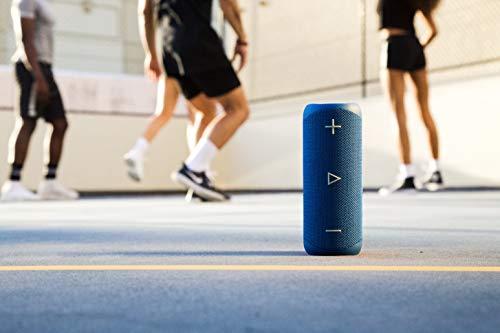 Sharp GX-BT280 (BL) Stereo-Bluetooth-Lautsprecher - kräftiger Bass - hochdynamischer Klangbereich / 12 Stunden Spielzeit/ Staub-Spritzwassergeschützt/ Mikrofon für Telefonate, Google & Siri - Blau